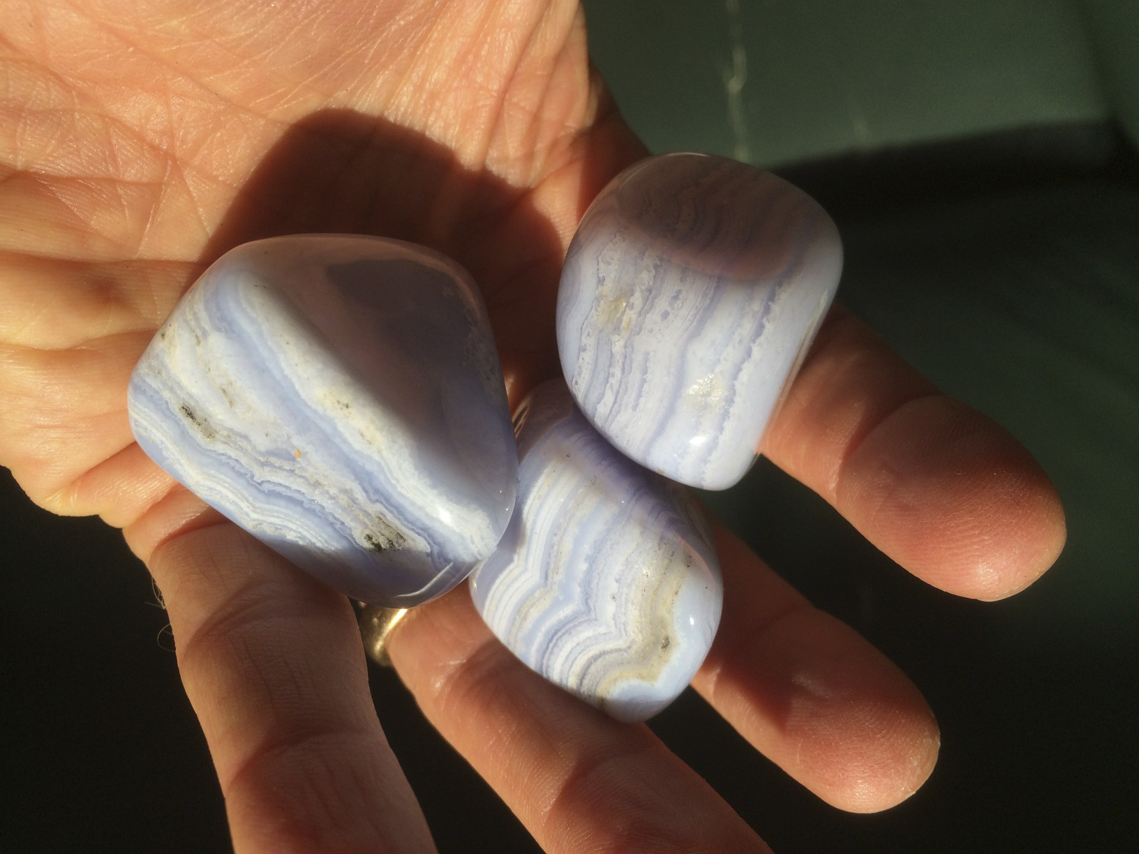 Blue Lace Agates - soothing but weighty - and gently colored, as should be our self talk and assertions to the world.