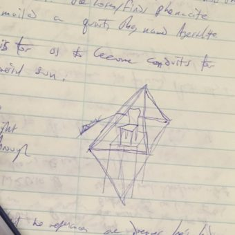 My notes, with concept of a throne in an octahedron, my prefered method of experiencing pyramids.