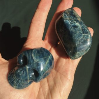 Blue Apatite skull and polished piece